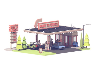Gas Station (Three Mini Scenes) drive-thru diner twitchcon travel pit stop luggage car c4d render 3d gas station