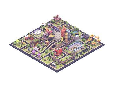 TwitchCon City video games gaming architecture buildings cinema 4d isometric city c4d render 3d twitchcon