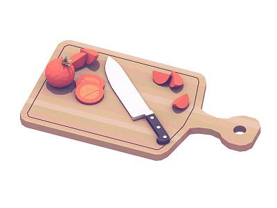 Chopping Board cinema 4d wedges slices knife cutlery chopping board cutting board c4d render 3d tomatoes food