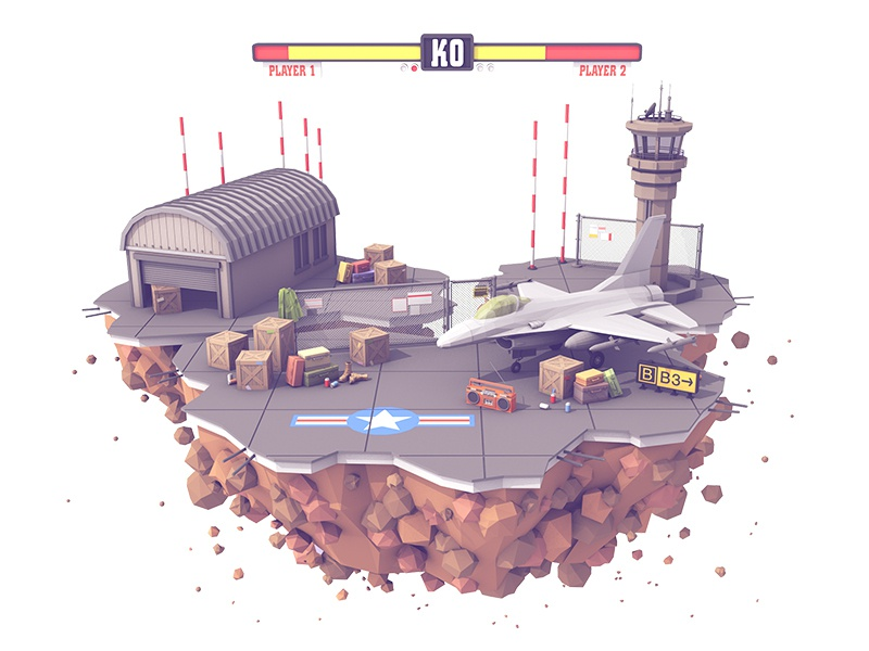 Fighting Island watchtower model ko bar hangar fighter jet jet cinema 4d c4d render 3d island fighting island
