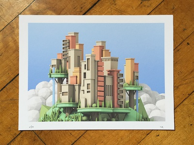 """Floating City"" Print c4d render 3d architecture building island sky waterfall landscape floating city"