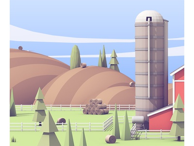 Farmland WIP cloud sky grass c4d render 3d fence silo land trees hills farm