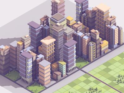 City Chunk area street model cinema 4d c4d skyscrapers downtown architecture render 3d buildings city
