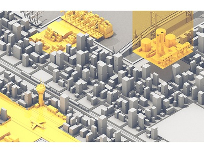 Bloomberg Markets c4d grayscale city bridge seaport airport factory spread illustration 3d bloomberg markets bloomberg