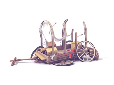 Broken-Down Wagon collab c4d collaboration arrows hitch busted broken transportation wheels oregon trail wagon retrospective