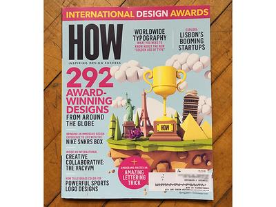 HOW Magazine Cover cinema 4d landmarks art c4d render clouds statues awards illustration cover how magazine how
