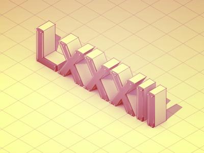 '82 1982 3d render model cinema 4d c4d roman numerals birth year rebound illustration design topography type lettering