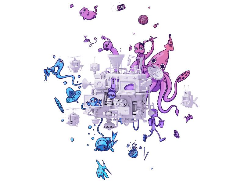 "TwitchCon ""Ticket Announcement"" Illustration tickets machine twitch fun c4d collaboration collab 2d render 3d twitchcon"