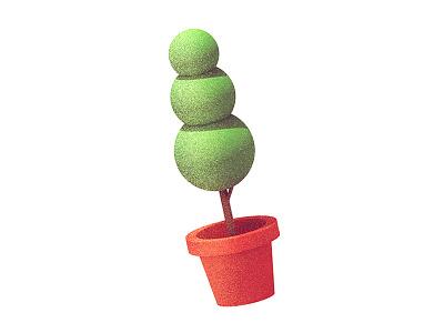 Plant cinema 4d shrub green soil c4d dissolve render 3d tree bush plant
