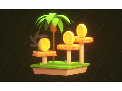 Island grass shiny model diorama trees coins lighting cinema 4d c4d render 3d octane