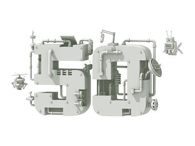 50 Days 'Til TwitchCon tech drones robots pipes twitch twitchcon model c4d render 3d illustration