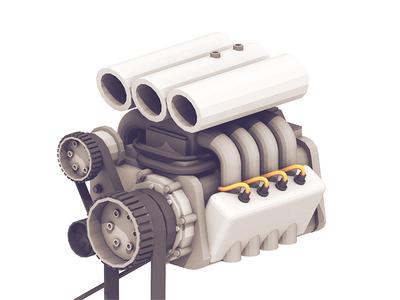 V8 Engine (WIP) header plugs gas carburetor belts horsepower v-8 v8 motor render 3d engine