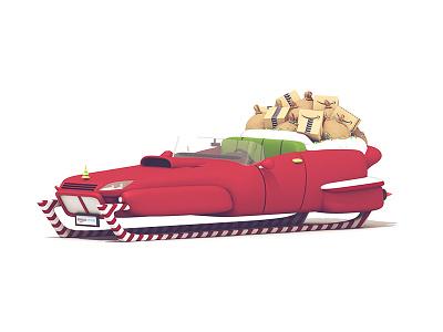 Amazon Vehicles' Santa Sleigh 2017 rudolph holidays santas sleigh santa sleigh vehicle car c4d render 3d amazon vehicles amazon