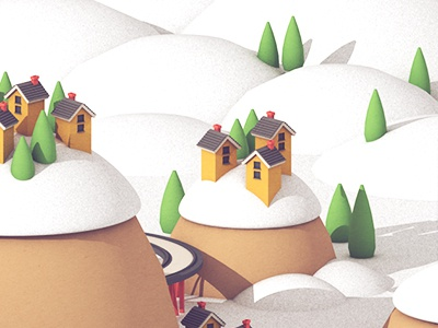 Village WIP render 3d trees track train house snow hill mountain town holidays village