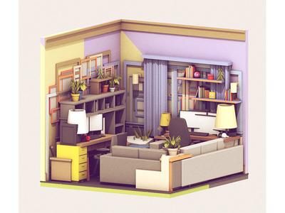Rooms cinema 4d c4d bedroom living room home house model render 3d room