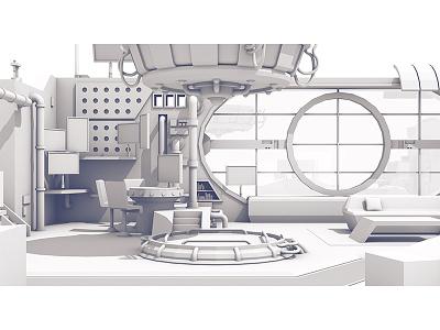 2017 Twitch Retrospective future sci-fi tech window model c4d transporter room office render 3d