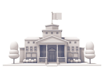Town Hall model trees architecture building c4d render 3d town hall