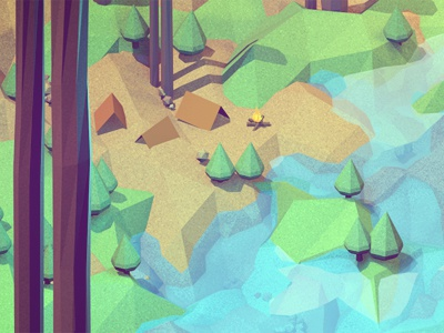 Land isometric landscape environment camping land 3d render model c4d cinema 4d ao polygons mountains lake trees grass tent fire campfire lowpoly