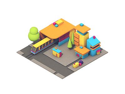 Transportation Center transportation center pavement trees colors buildings urban city c4d render 3d train transportation