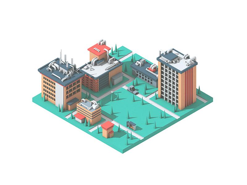 Gridspace Illustrations architecture model communication tech town illustration render city 3d gridspace