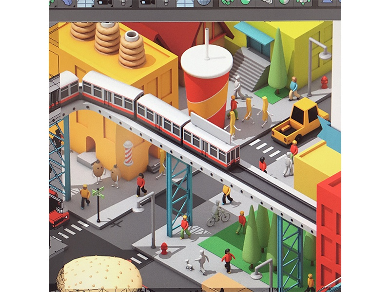 City WIP #3 c4d train street archicture buildings people urban town render 3d city color