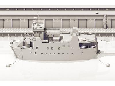 Ship v.2 grayscale sea model illustration cinema 4d c4d render 3d vessel boat ship