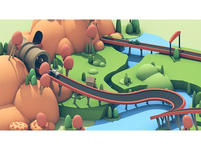 Osmo Racing Game (Concept Art) landscape c4d render concept art game racing racetrack car 3d osmo