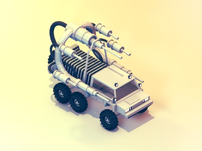 Land Vehicle weapons truck vehicle land rover guns arsenal polygons tires wheels army attack war tubes stripes c4d cinema 4d 3d render model ao isometric iso lowpoly