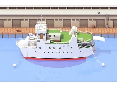 Ship (Final) illustration anchor boat ocean bay model c4d dock render 3d port ship