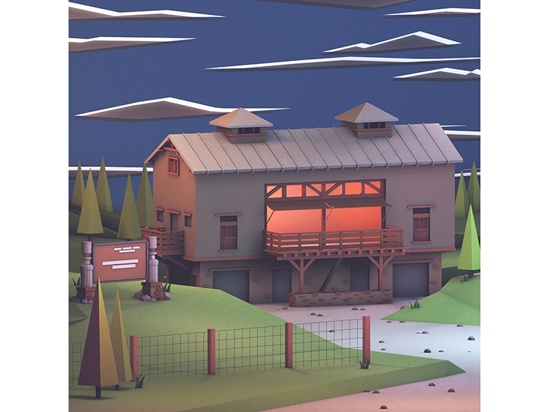 Cards Against Humanity model deck architecture night art illustration c4d render 3d lighting traders point creamery barn
