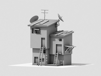 Structures WIP boards satellite ladder house scene c4d render 3d habitat home architecture