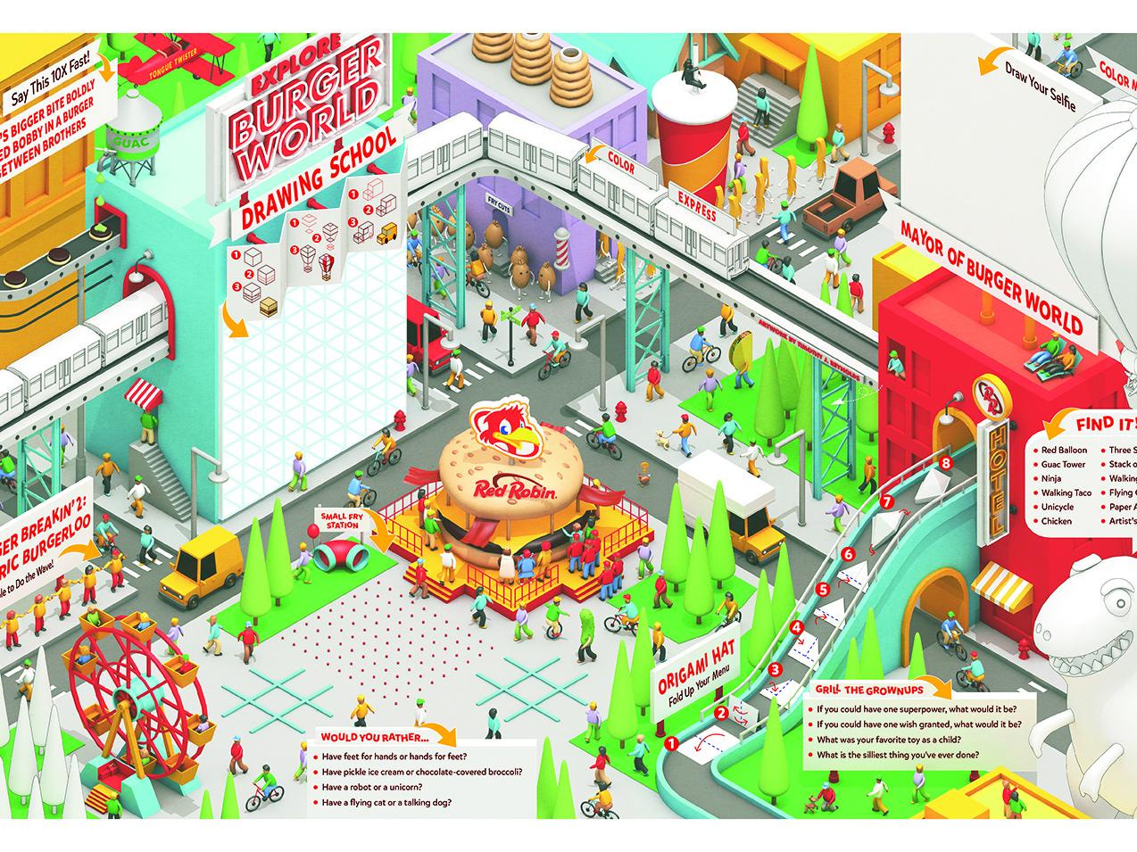 Red Robin Summer Kids Menu kids menu menu restaurant red robin town city architecture model cinema 4d 3d c4d render