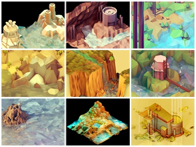 Prints! 3d render isometric model cinema 4d c4d line sketchy polygon low-poly ao gi landscape worlds water nature land trees prints lowpoly