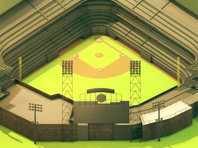 Baseball Stadium outfield field stadium baseball baseball stadium 3d render ao model c4d cinema 4d polygons low-poly lowpoly billboard scoreboard grass infield bases home run sports game