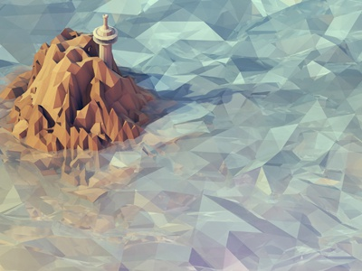 Watchtower 3d isometric iso render model c4d cinema 4d ao polygons low poly ocean water island watchtower cinema 4d iso lowpoly