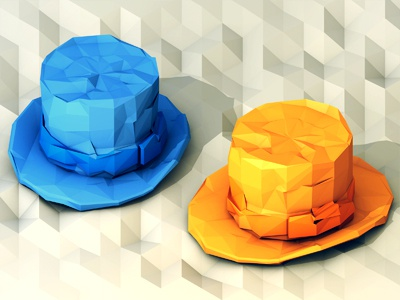 Dumb & Dumber [SOK Assignment] dumb dumber dumb  dumber 3d render model c4d ao cinema 4d polygons low poly hats top hats orange blue comedy movie iso isometric lowpoly