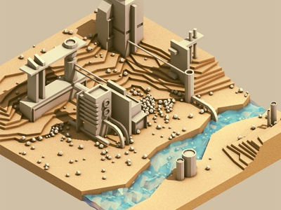 Site Plan 3d render iso isometric c4d cinema 4d ao landscape site site plan layers topography architecture city small scale large pipes tubes water creek land factory lowpoly
