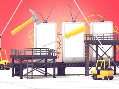 Fast Company IGTV fast company work factory screwdriver hammer editorial cinema 4d c4d render 3d forklift