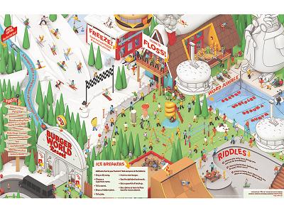 Red Robin Winter/Spring Kids Menu burgers ski slope pool penguin cinema 4d c4d render 3d illustration 3d illustration kids menu restaurant red robin