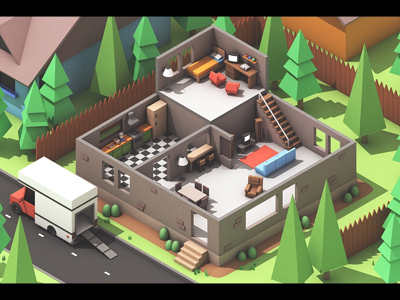 Moving Out (Concept Art) 3d concept art game apartment house room isometric landscape architecture model c4d cinema 4d render