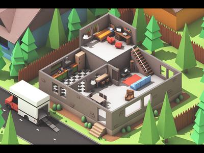Moving Out (Concept Art) 3d concept art game apartment house room isometric landscape architecture model c4d cinema 4d render