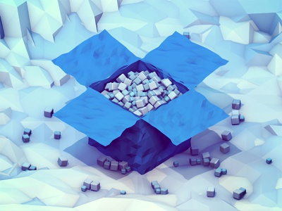 Bits & Pieces dropbox rebound competition contest 3d render iso isometric landscape box bits space polygons icy cold lowpoly storage data low poly cloud blue playoff