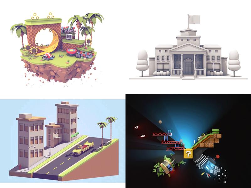 2018 game gaming island 3d illustration illustration architecture landscape cinema 4d render 3d
