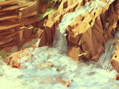 Diamantina [Everywhere Project] diamantina brazil 3d render iso isometric c4d cinema 4d lowpoly low poly landscape waterfall water nature rocks cliffs tropical