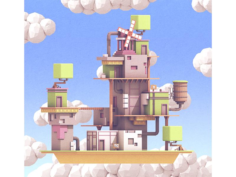 Fez Island architecture doors windmill floating 3d illustration fez game art illustration render 3d island fez