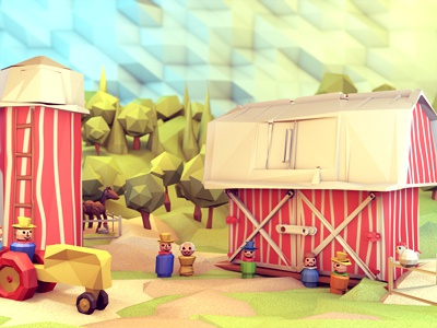 Fisher-Price [Final] fisher-price 3d render model c4d cinema 4d barn farm people little people toy vintage tractor silo sky landscape lowpoly low poly