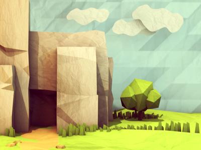 Paper Test 3d render paper test model c4d cinema 4d trees landscape house sky trail texture ao lowpoly low poly