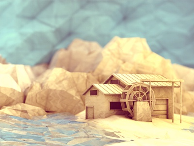 Watermill watermill 3d render water farm farmhouse river mountains dof house ground landscape paper texture lowpoly low poly mill paper texture