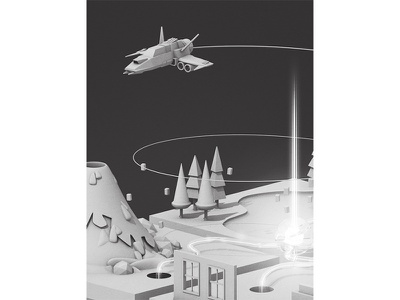 WIP orb beam hole portal spaceship walls house water lake trees c4d render 3d volcano ship