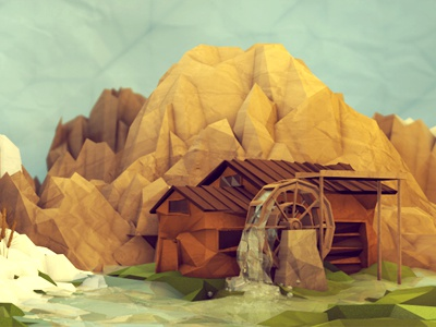 Watermill No. 2 watermill 3d render mill water house barn c4d cinema 4d mountains dof landscape paper paper texture texture polygons lowpoly low poly snow ground